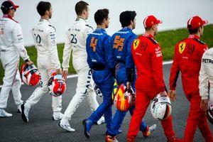 Pierre Gasly, AlphaTauri, Daniil Kvyat, AlphaTauri, Lando Norris, McLaren, Carlos Sainz, McLaren, Sebastian Vettel, Ferrari and Charles Leclerc, Ferrari