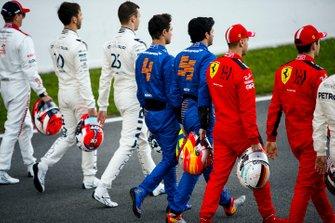 Pierre Galsy, AlphaTauri, Daniel Kvyat, AlphaTauri, Lando Norris, McLaren, Carlos Sainz, McLaren, Sebastien Vettel, Ferrari und Charles Leclerc, Ferrari