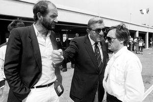 Yvon Leon, FISA Secretary General; Jean Marie Balestre, President FISA and Bernie Ecclestone, Brabham Team Owner and FOCA President