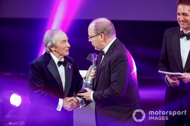 Príncipe Alberto II de Mónaco de Mónaco y Jackie Stewart durante los Premios Autosport