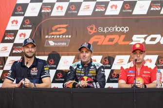 Race winner Jamie Whincup, Triple Eight Race Engineering Holden second place Scott McLaughlin, DJR Team Penske Ford, third place Shane van Gisbergen, Triple Eight Race Engineering Holden