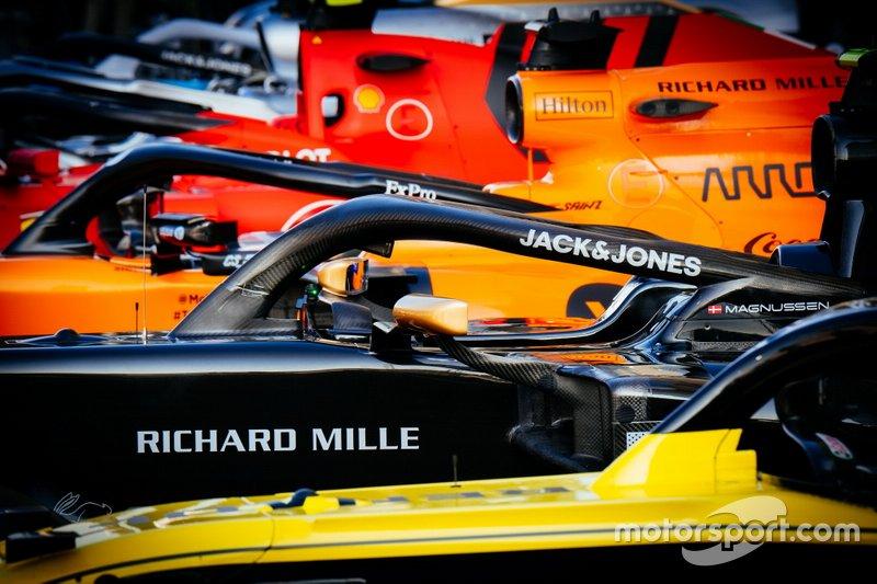 Renault F1 Team R.S.19,Haas F1 Team VF-19 ,McLaren MCL34, Ferrari SF90