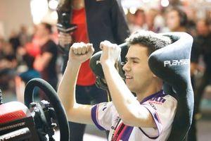 The winner of the Rallycross eSports final celebrates