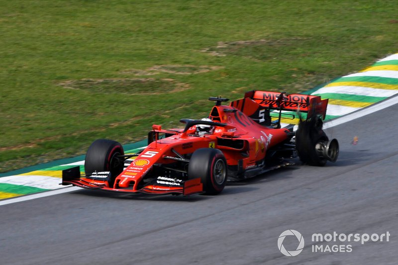 Sebastian Vettel, Ferrari with damage after crashing with Charles Leclerc, Ferrari SF90
