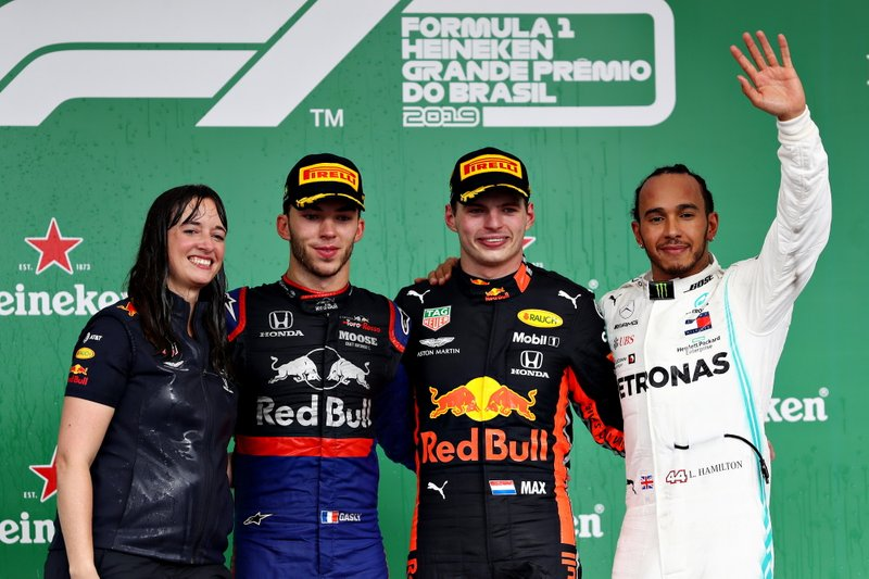 Podium: Race winner Max Verstappen, Red Bull Racing, second place Pierre Gasly, Toro Rosso, third place Lewis Hamilton, Mercedes AMG F1, Hannah Schmitz, Red Bull Racing strategy engineer