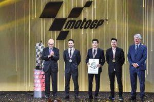 Carmelo Ezpeleta, Dorna CEO, Andrea Dovizioso, Ducati Team, Marc Marquez, Repsol Honda Team, Maverick Vinales, Yamaha Factory Racing