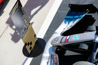 A special spot is reserved for the car of 2019 Champion Lewis Hamilton, Mercedes AMG F1 W10