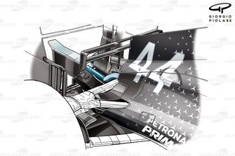 Lewis Hamilton, Mercedes AMG W10, dettaglio dello sfogo posteriore