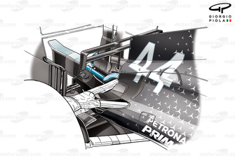 Lewis Hamilton, Mercedes AMG W10, detalle de refrigeración trasera