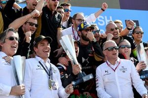 Race winner Antonio Felix da Costa, DS Techeetah, Jean-Eric Vergne, DS Techeetah, 3rd position pose with team members