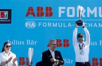 Bastien Schupp, DS Techeetah celebrates with the constructor's trophy on the podium