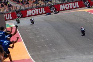 1. Jules Cluzel, GMT94 Yamaha, 2. Lucas Mahias, Kawasaki Puccetti Racing, 3. Isaac Vinales, Kallio Racing