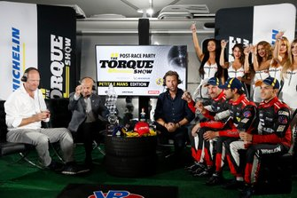 Scott Atherton Champagne toast on the Torque Show, Tommy Kendall, Justin Bell, #31 Whelen Engineering Racing Cadillac DPi, DPi: Felipe Nasr, Pipo Derani, Eric Curran