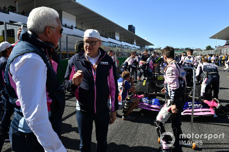 Lawrence Stroll, Owner, Racing Point, and Andreas Weissenbacher, CEO, BWT, on the grid