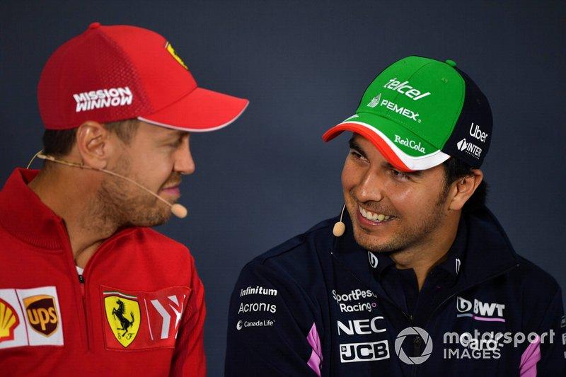 Sebastian Vettel, Ferrari e Sergio Perez, Racing Point, in conferenza stampa
