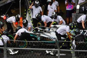 Valtteri Bottas, Mercedes AMG W10, in the pit lane