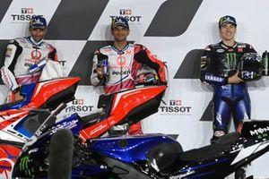 Jorge Martin, Pramac Racing, Johann Zarco, Pramac Racing, Maverick Vinales, Yamaha Factory Racing parc ferme