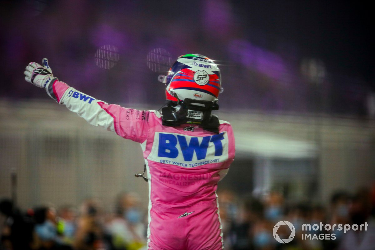 Race Winner Sergio Perez, Racing Point festeggia la vittoria