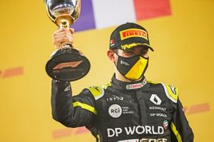 Esteban Ocon, Renault F1, 2nd position, with his trophy on the podium