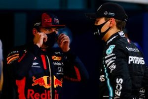 Max Verstappen, Red Bull Racing, and George Russell, Mercedes-AMG F1, in Parc Ferme after Qualifying