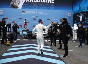 Stoffel Vandoorne, Mercedes-Benz EQ, 1st position, heads to the podium
