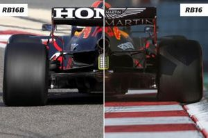 Red Bull RB16B Vs RB16 achterkant detail