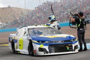 Chase Elliott, Hendrick Motorsports, Chevrolet Camaro NAPA Auto Parts, celebrates after winning the 2020 Nascar Cup Series Championship