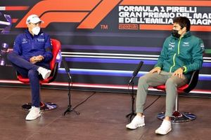 George Russell, Williams and Lance Stroll, Aston Martin in the Press Conference