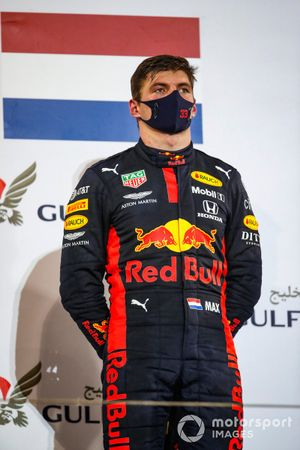 Max Verstappen, Red Bull Racing, 2nd position, on the podium