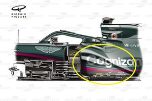 Aston Martin Racing AMR21 barge board Bahrain GP