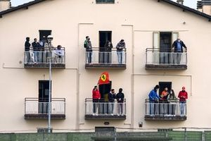Fans watch from balconies