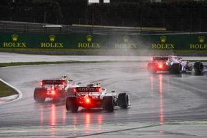 Sergio Perez, Racing Point RP20, Antonio Giovinazzi, Alfa Romeo Racing C39, and Nicholas Latifi, Williams FW43