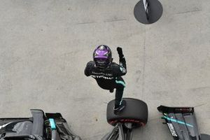 Lewis Hamilton, Mercedes-AMG Petronas F1, celebrates after securing pole