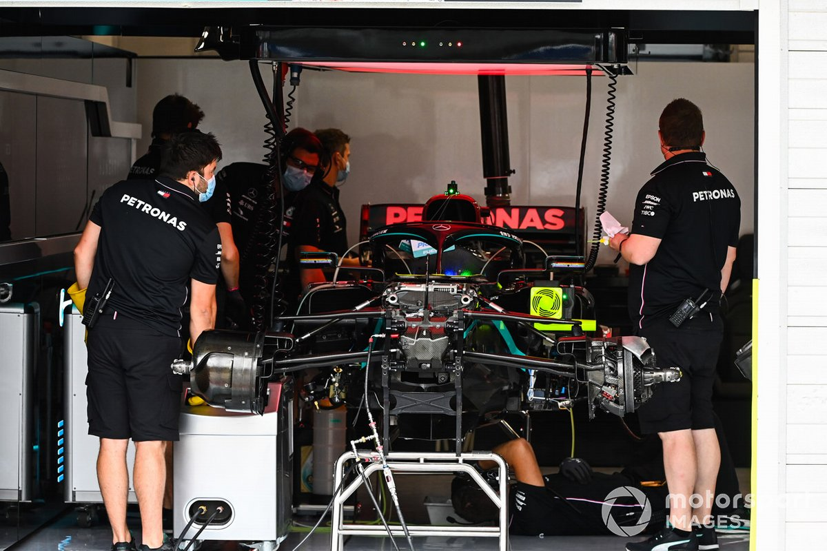 Mercedes team members at work