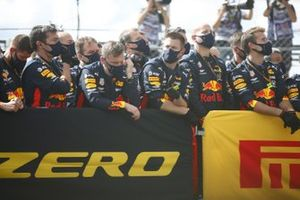 The Red Bull team celebrate a posium finish for Max Verstappen, Red Bull Racing