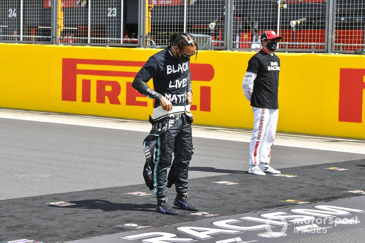 Lewis Hamilton, Mercedes-AMG F1 en apoyo a la campaña para el fin del racismo