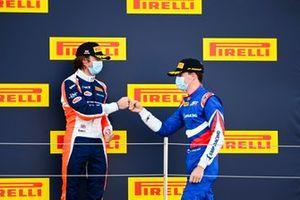 Race Winner Alexander Smolyar, ART Grand Prix and Clement Novalak, Carlin celebrate on the podium