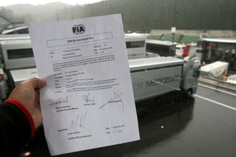 A press release from the FIA announcing that Lewis Hamilton, McLaren Mercedes has been given a 25 second penalty
