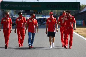 Sebastian Vettel, Ferrari, Marc Gene and other colleagues walk the circuit
