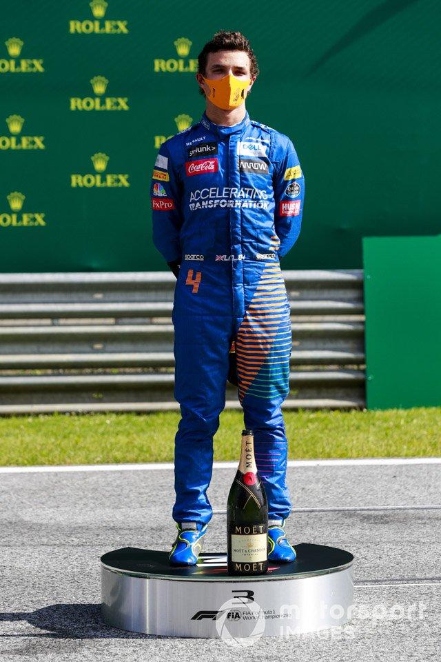 Lando Norris, McLaren on the podium