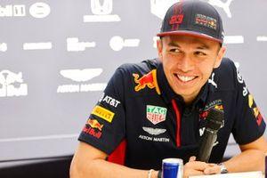 Alex Albon, Red Bull Racing, talks to the press