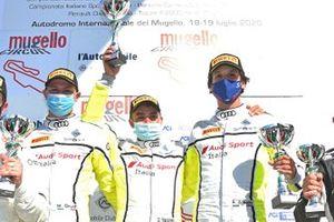 Drudi Mattia, Mancinelli Daniel, Agostini Riccardo, Audi R8 #12, Audi Sport Italia sul podio