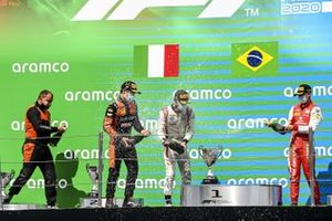 Race Winner Felipe Drugovich, MP Motorsport, Luca Ghiotto, HITECH GRAND PRIX and Mick Schumacher, Prema Racing celebrate on the podium with the champagne