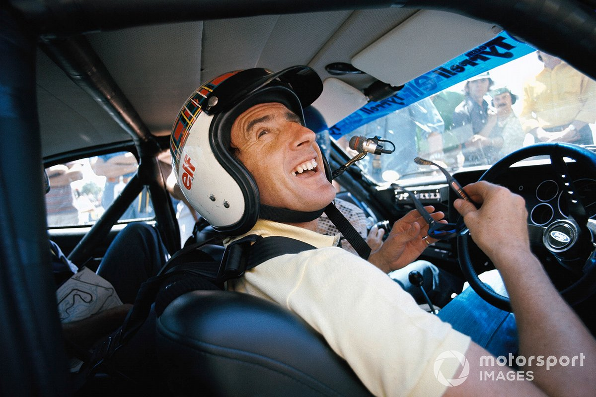 Jackie Stewart demonstrates the power of a Ford touring car