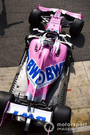Sergio Perez, Racing Point RP20, lascia i garage