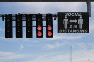 Social Distancing reminder on start finish straight