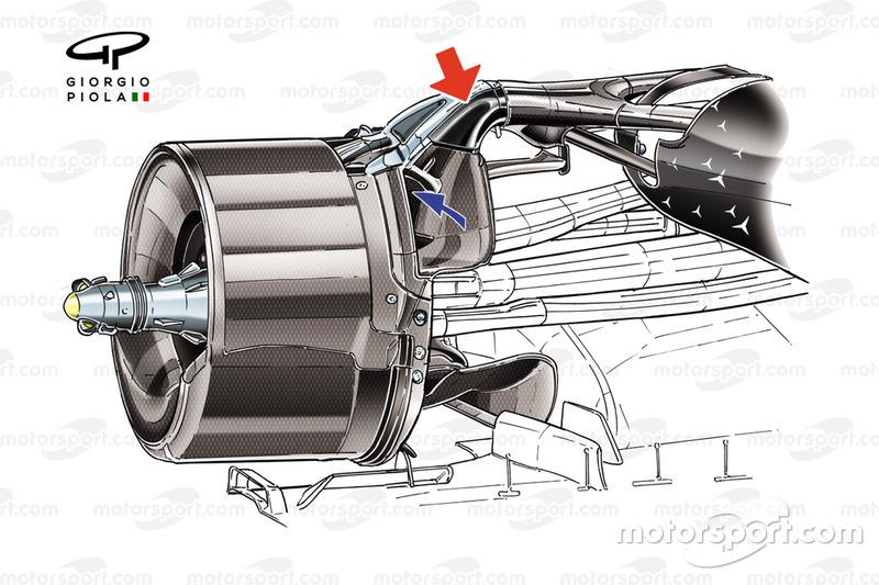 Detalle del conducto de los frenos traseros del Mercedes AMG F1 W11