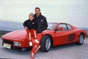 Nigel Mansell con su hijo Leo