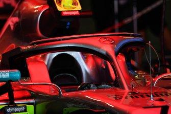 The car of Valtteri Bottas, Mercedes AMG W10, in the garage