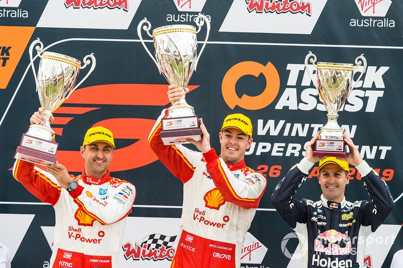Podium: race winner Scott McLaughlin, DJR Team Penske Ford, second place Fabian Coulthard, DJR Team Penske Ford, third place Jamie Whincup, Triple Eight Race Engineering Holden